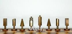 Vintage Mid-century Modern Italian Métal Jeu D'échecs. Laiton Et Acier. Boite En Bois