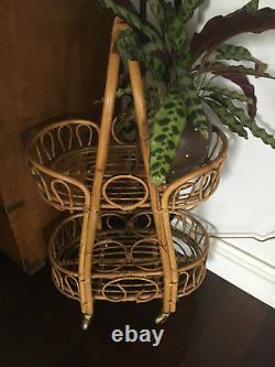 Vintage Milieu Du Siècle Italien Bentwood Bamboo Bar Demi Service Panier