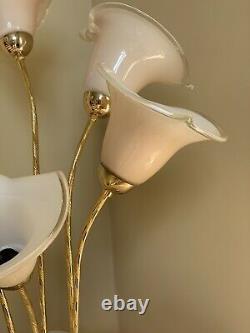 Vintage Murano Italien Laiton Art Verre Calla Lily Lampe De Table 31 Italie