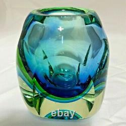 Vintage Murano Somerso Faceted Bloc Art Vase En Verre Bleu Vert