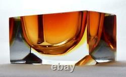 Vintage Murano Sommerso Glass Geometric Bowl/ashtray C1970s