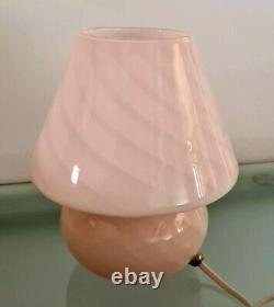 Vintage Murano Vetri En Verre Italien Mushroom Lampe Rose Swirl Art Glass