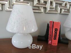 Vintage Paire Vetri En Verre De Murano Confettis Blanc Champignon Italie Lampe De Table 12