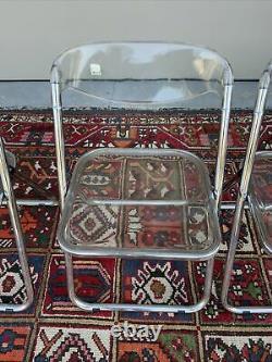 Vintage Post Set Moderne De 3 Chaises Pliantes En Acrylique Transparent Italien Des Années 1960