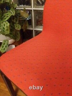 Vintage Signé Paire Gae Aulenti Pour Knoll Modern Italienne Chaises Rouges Pastèque