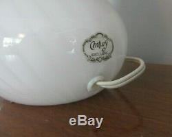Vintage Vetri En Verre De Murano Blanc Champignon Swirl Lampe De Table 7¾ Hautes 7 Large 80 De