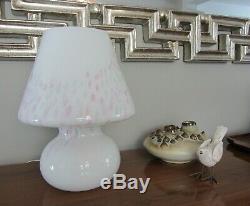 Vintage Vetri En Verre De Murano Confettis Blanc Champignon Italie Lampe De Table 12 80 70 De