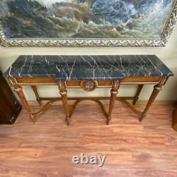 Vintage Wooden Antique American Style Italian Marble Top Console Wall Table
