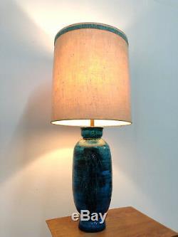 Vtg Bitossi Aldo Londi Rimini Bleu Céramique Lampe De Table Milieu Du Siècle Moderne Italienne