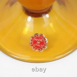 Vtg Empoli Verre Art Italien Butterscotch Et Blanc Cased Decanter Lunettes Étiquette
