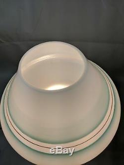 Vtg Grand 15 MID Century Moderne Murano Vert Stripe Lampe De Table En Verre Champignon