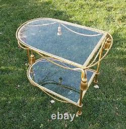 Vtg Italien Gilt Tole Rope Tassel Bar/serving Cart-hollywood Regency-labarge Era