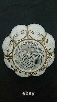 Vtg Italien Murano Glass Latticino Caged Light Lamp Fixture Chandelier