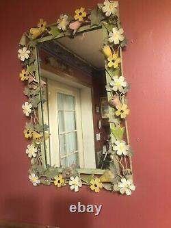 Vtg Italien Tole Mirror Émail Floral Art MCM