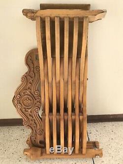 Vtg Italienne Savonarola X Pliante En Bois Chaise Lion Noyer Home Chefs Sculpté Hand