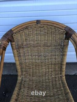 Vtg MID Century Iron & Rattan Accent Side Chair Lounge Fauteuil Umanoff