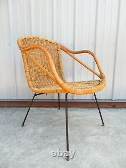 Vtg MID Century Iron & Rotin Accent Chaise Lounge Fauteuil Umanoff Weinburg