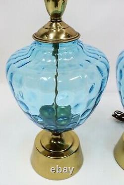 Vtg MID Century Modern Blue Coin Glass Murano Lampes De Table Hollywood Regency Gold