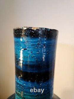 Vtg MID Century Moderne Aldo Londi Bitossi Lg Rimini Blue Italie Potterie Vase 17