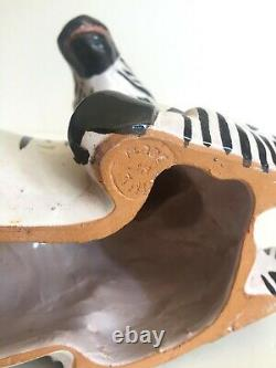 Vtg MID Siècle Art Moderne Italien Poterie Peint À La Main Céramique Zebra Sculpture