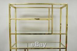 Vtg Milieu Du Siècle Moderne Plaqué Laiton Métal Etagere Affichage Étagère Avec Tablettes En Verre